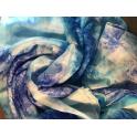 Voile en soie tie & dye bleu turquoise blanc