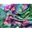Voile en soie tie & dye Vert bleu turquoise rose