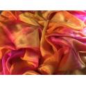 Voile en soie tie & dye jaune orange fuchsia