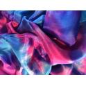 Voile en soie tie & dye bleu turquoise rose