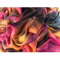 Voile en soie tie & dye Framboise, orangé noir